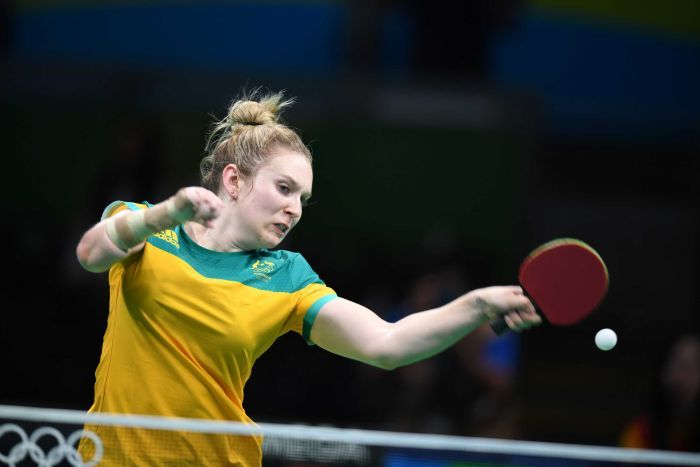 Melissa Tapper playing table tennis for Australia