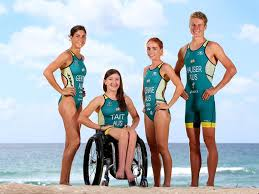 Trialthletes in their Australia competition uniforms including partri- athlete Sara Tait